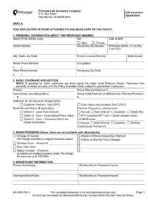 lifeinsuranceapplication life insurance policy document template word