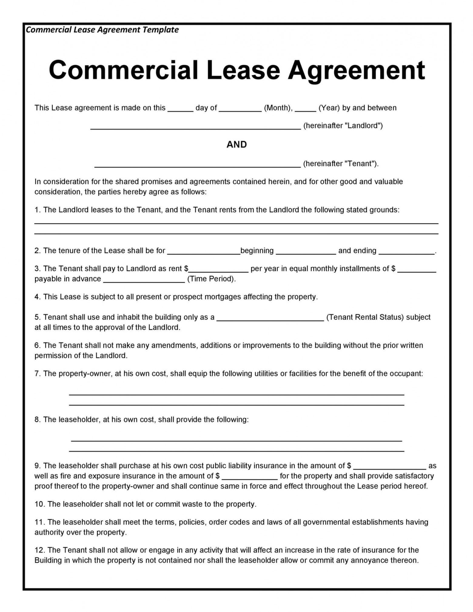 printable 26 free commercial lease agreement templates  templatelab office rent contract template