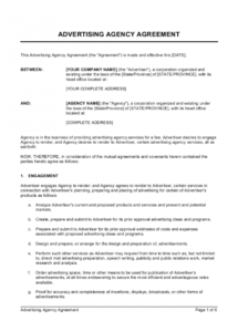 printable advertising agency agreement template  by businessinabox™ online advertising contract template