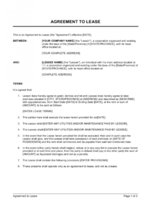 printable agreement to lease template  by businessinabox™ rental policy template pdf