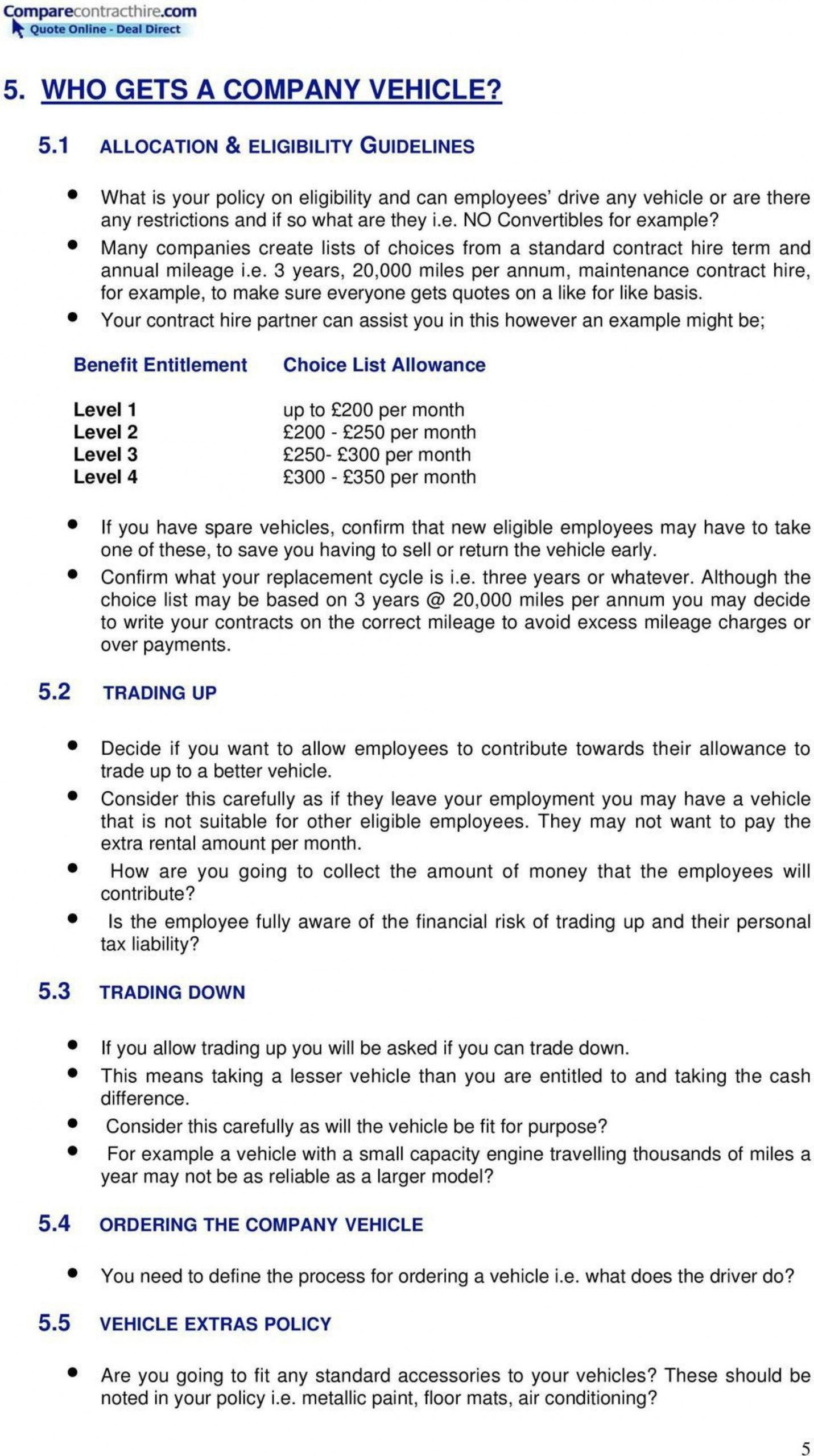 printable company vehicle policy template ~ addictionary company car allowance policy template excel