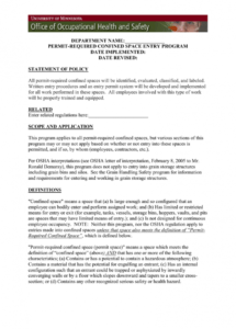 printable confined space program template confined space policy template word