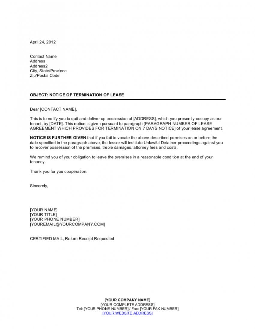 Rental Lease Termination Letter Template