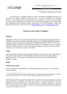 printable physical security policy template employee security policy template pdf