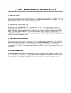 printable smoking policy template  by businessinabox™ smoke free policy template word