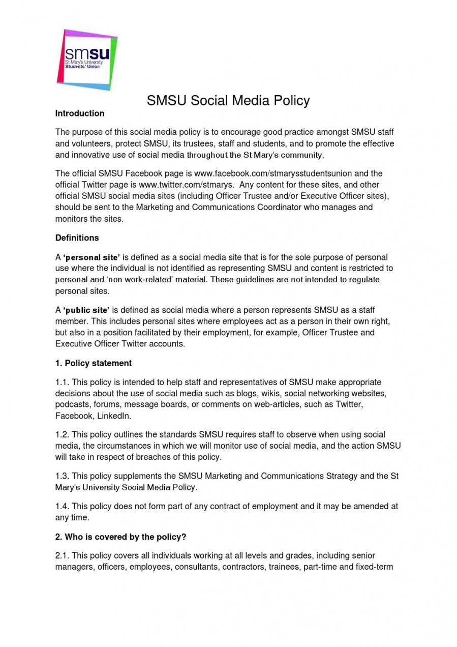 printable social media policy by st mary's students' union  issuu employee social media policy template