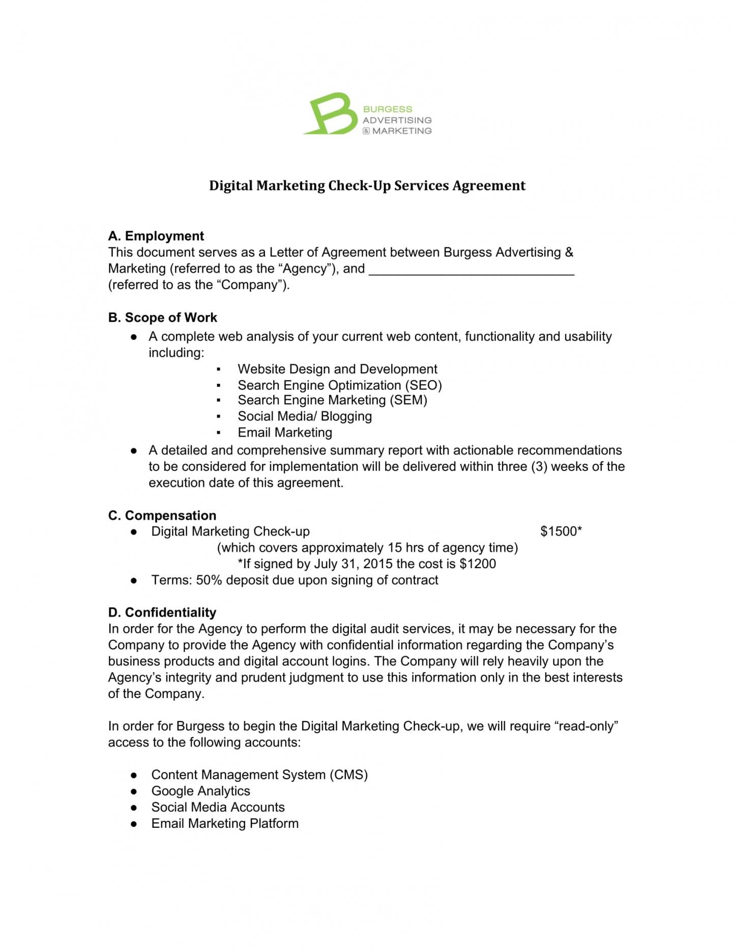 printable template marketing services agreement template marketing social media consulting contract template