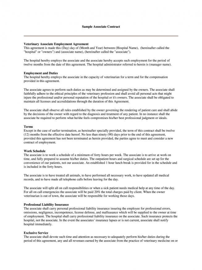 printable veterinary contract template  fill online printable veterinary employment contract template sample