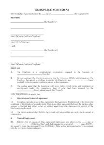 printable workplace agreement  australia australian employment contract template sample