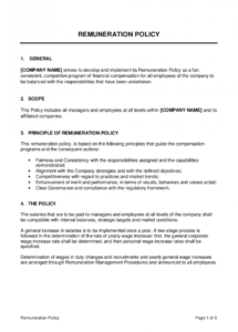 remuneration policy template  by businessinabox™ compensation policy template