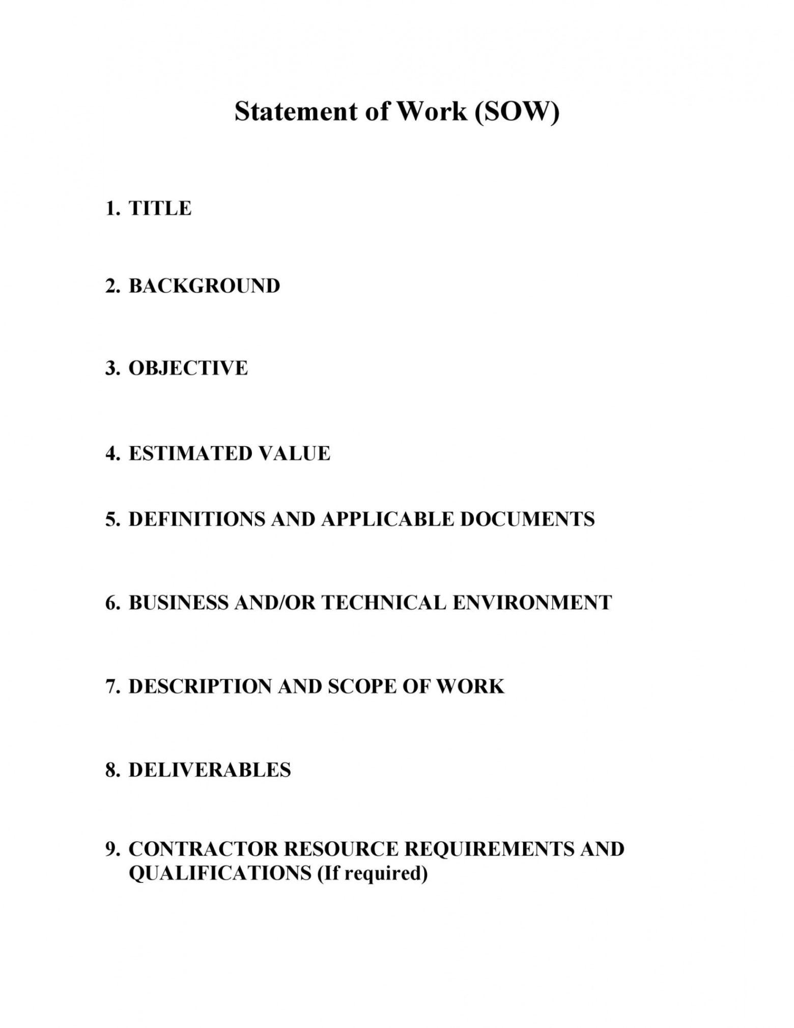 sample 30 readytouse scope of work templates & examples scope of work contract template excel