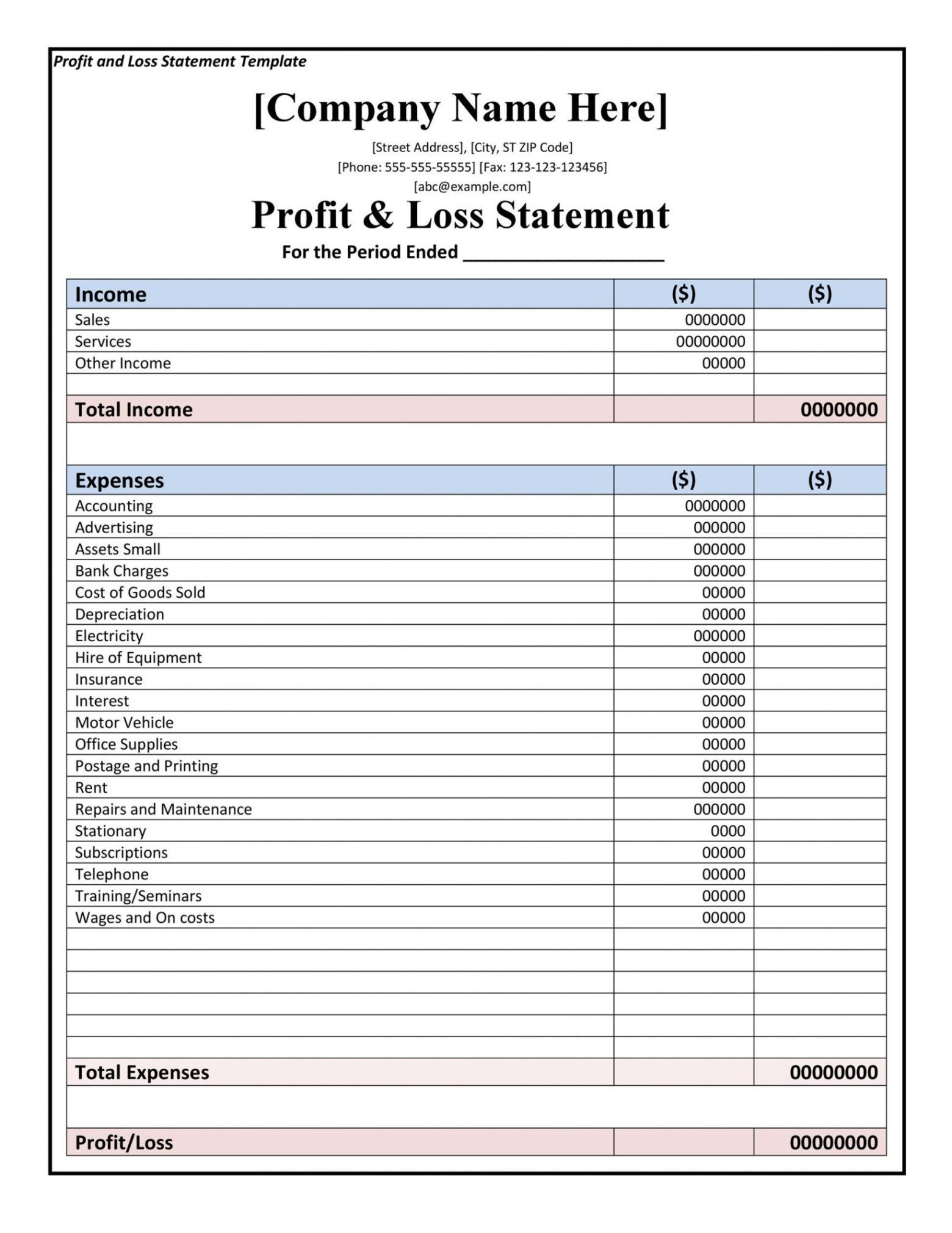 Profit And Loss Statement For Small Business Template