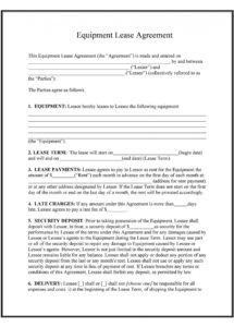 sample 44 simple equipment lease agreement templates  templatelab rental policy template example