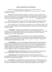 sample 47 early lease termination letters & agreements  templatelab contract termination clause template word
