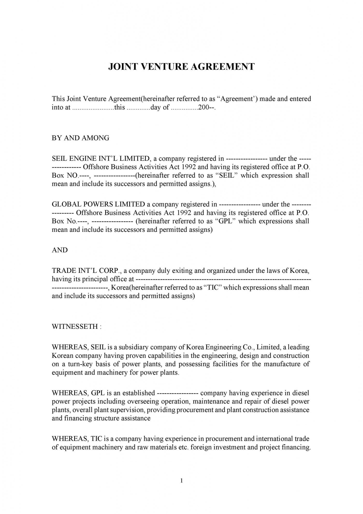 sample 53 simple joint venture agreement templates pdf doc joint venture agreement template