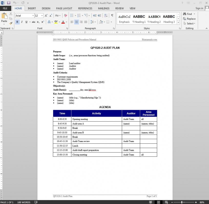 sample audit plan iso template  qp10202 auditing policy template sample