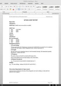 sample audit report iso template  qp10204 auditing policy template excel