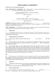 sample employment agreement  australia australian employment contract template example