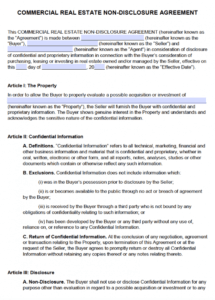 sample free commercial real estate nondisclosure agreement nda commercial real estate contract template excel