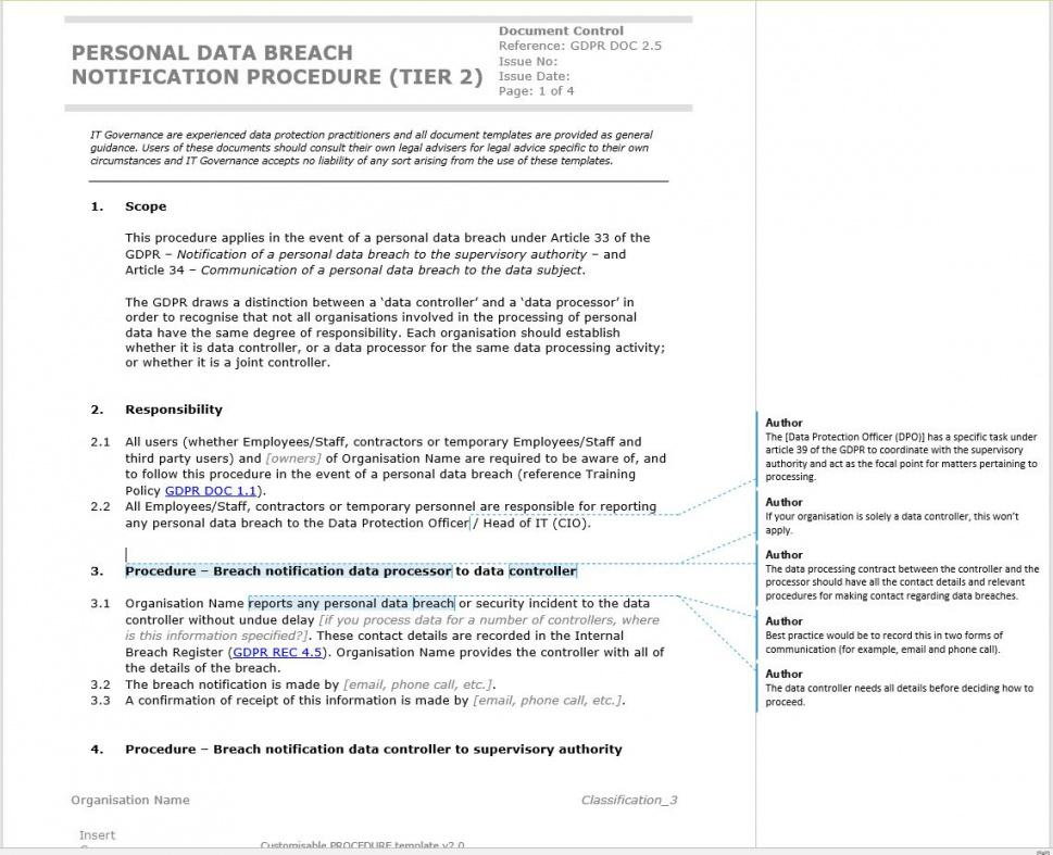 sample free template how to write a gdpr data breach notification security breach policy template example