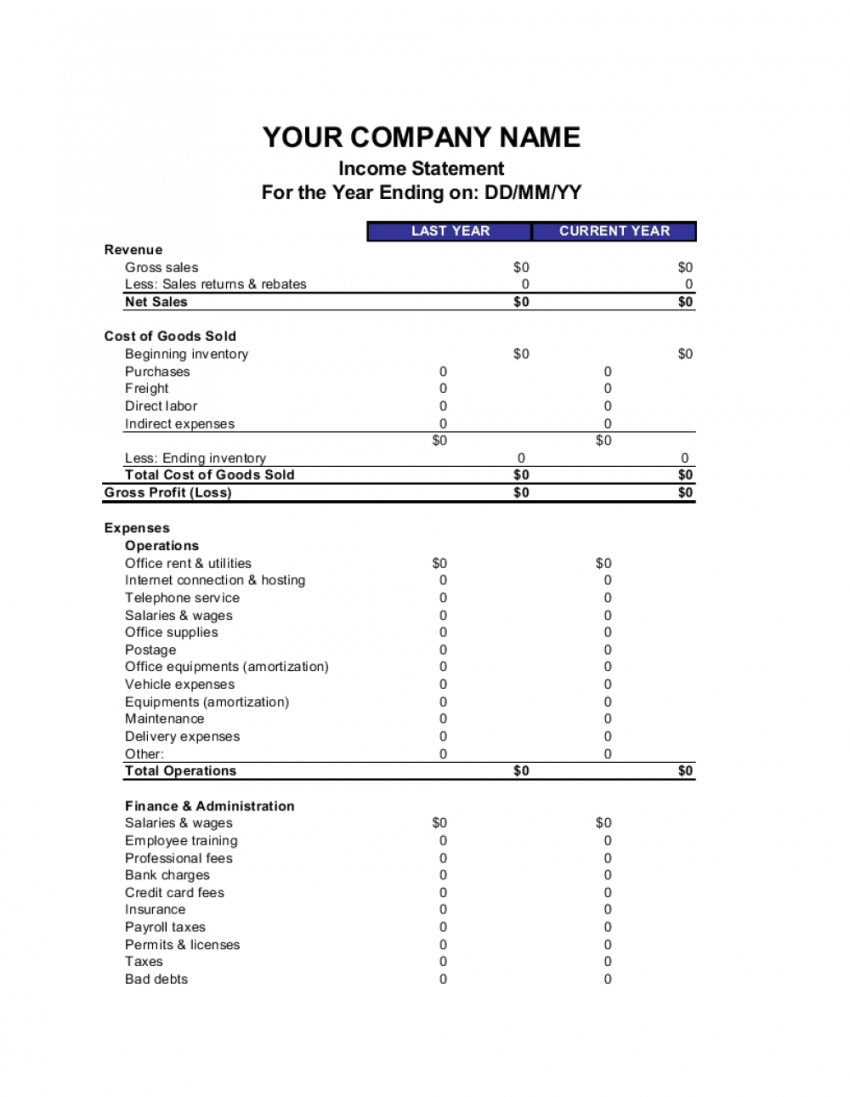 sample income statement template  by businessinabox™ corporate financial statement template excel