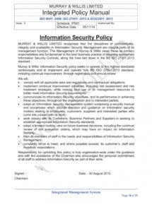 sample iso 270012013 clause 52 information security policies and security policy exception template example