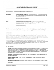 sample joint venture agreement template  by businessinabox™ joint venture agreement template sample