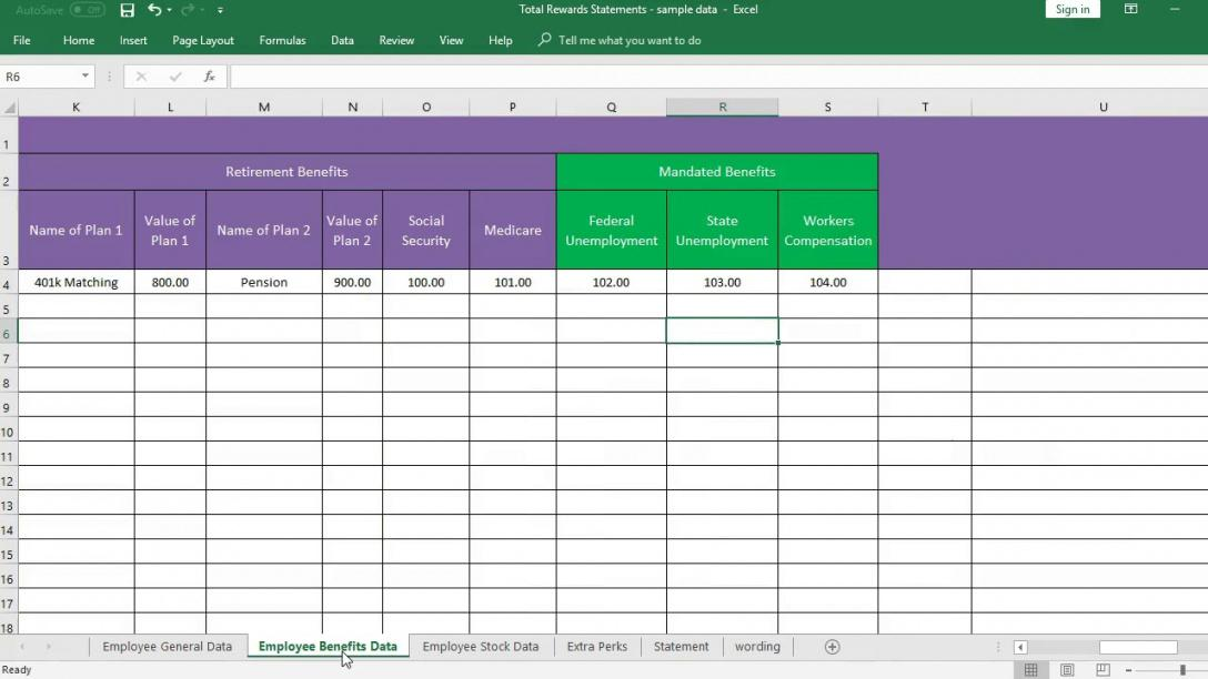 total rewards statement excel template employee compensatio total rewards statement template doc