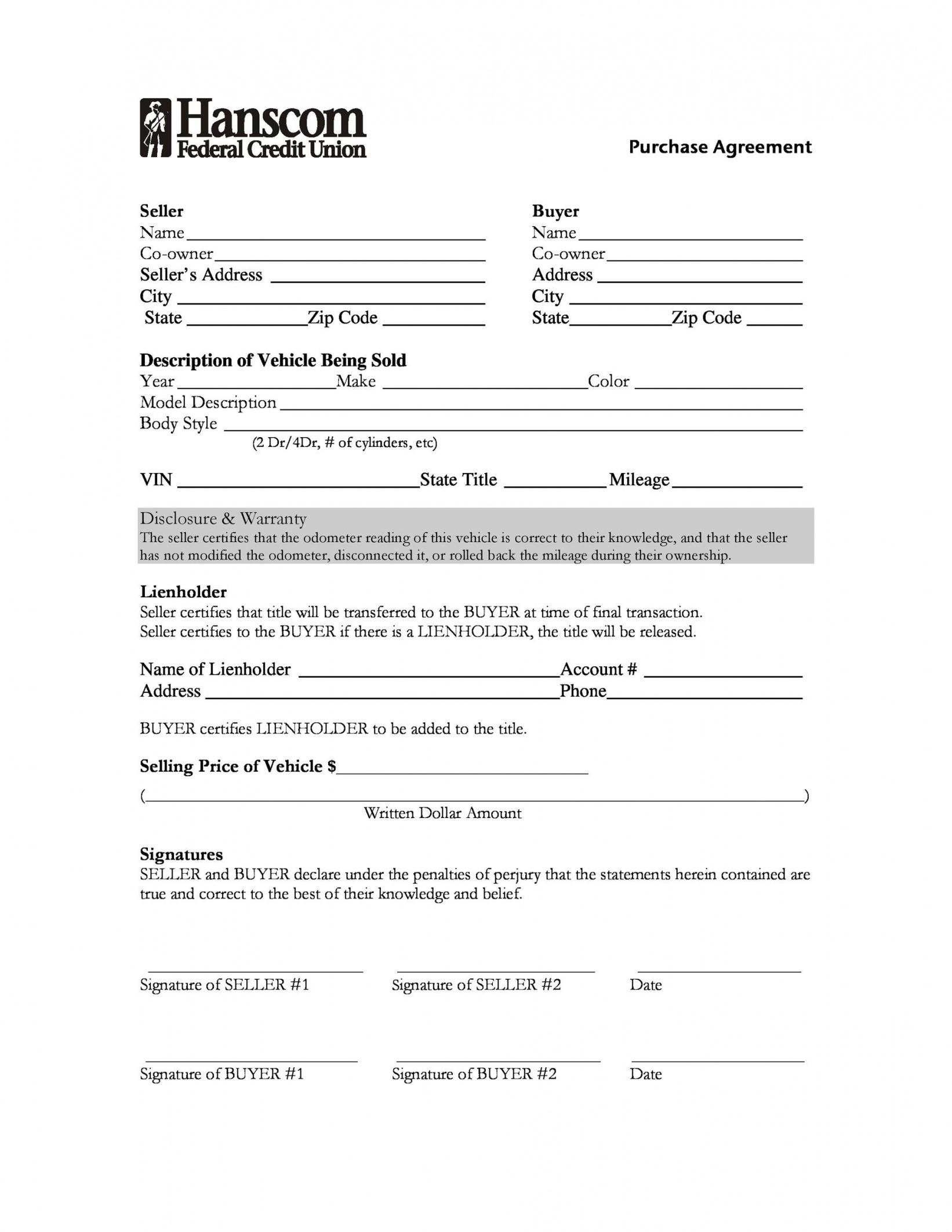 42 printable vehicle purchase agreement templates  templatelab car lease to own contract template example