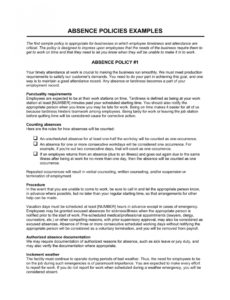 absence policies template  by businessinabox™ employee attendance policy template pdf