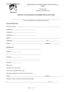 adoption form  fill out and sign printable pdf template  signnow horse adoption contract template pdf