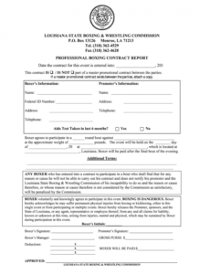 boxing contract  fill out and sign printable pdf template  signnow boxing manager contract template pdf