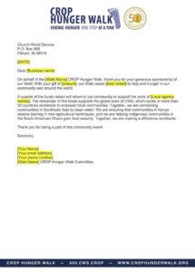 business sponsorship thank you letter  crop hunger walk sponsor thank you letter template pdf