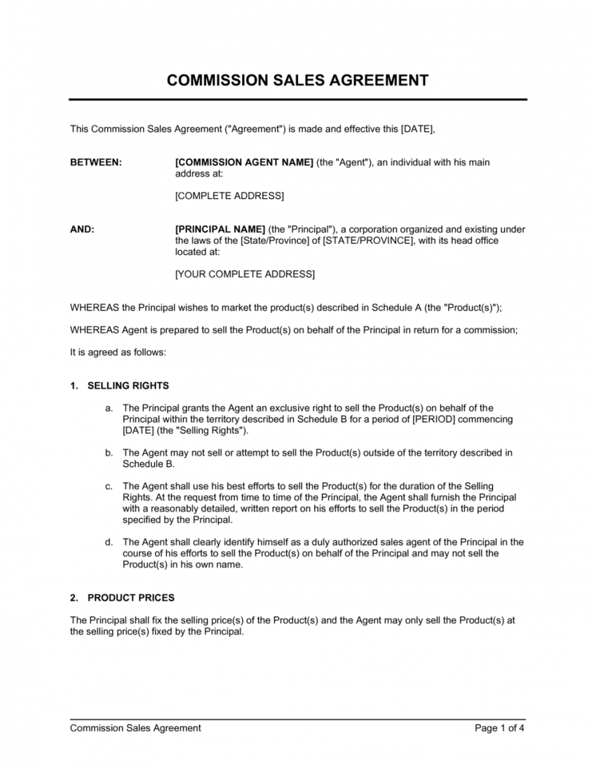 commission sales agreement template  by businessinabox™ sales commission contract template word
