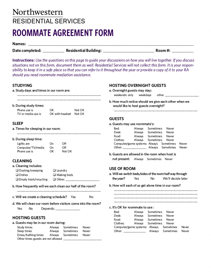 editable 10 college roommate agreement examples  pdf  examples college roommate contract template word