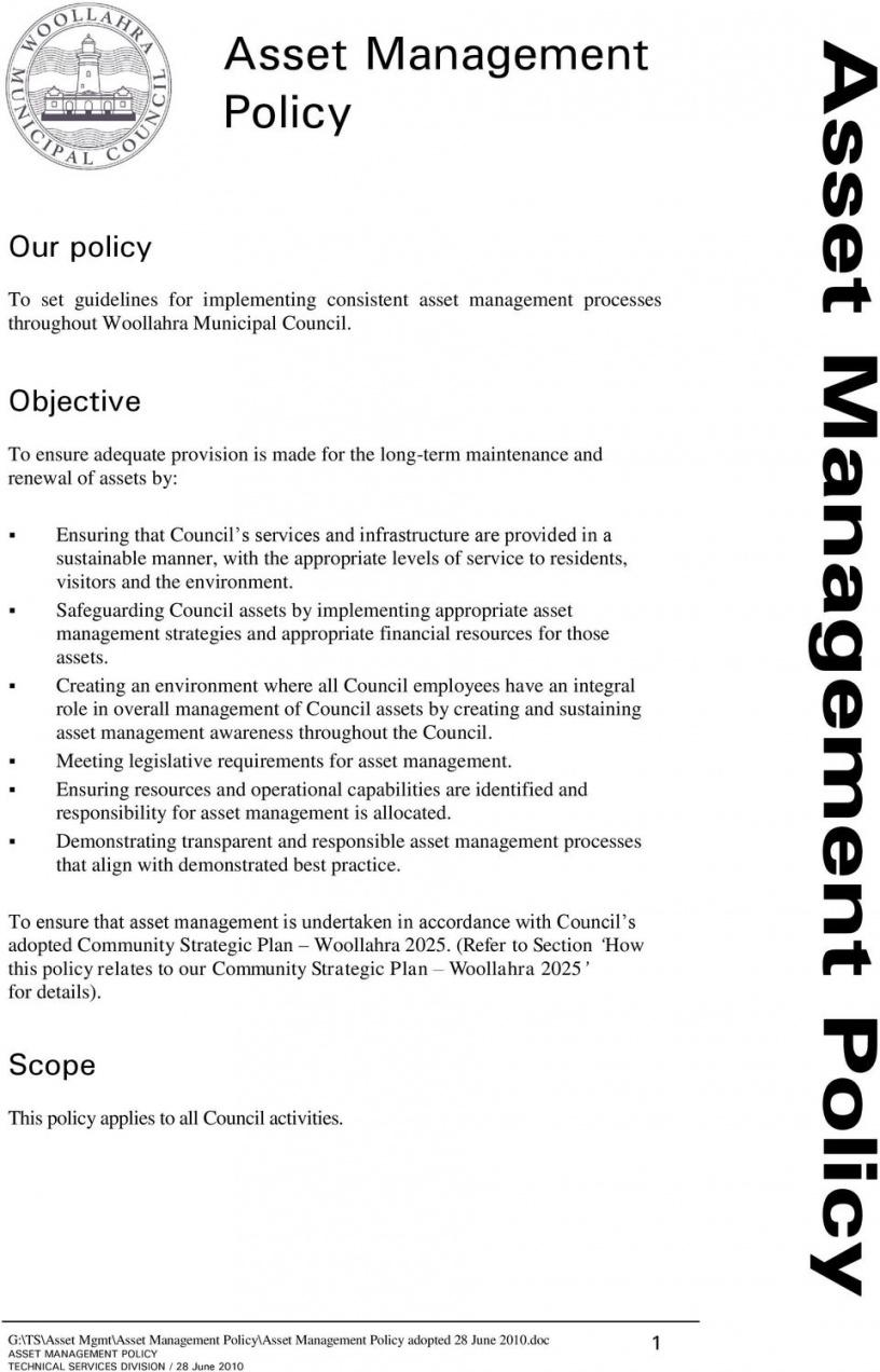 editable asset management policy  pdf free download asset management policy template doc