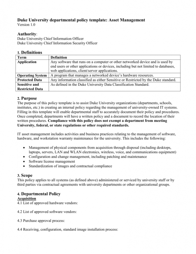 editable asset management policy template  it security office asset management policy template sample