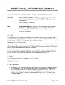 editable contract of sale of commercial property template  by house sale contract template pdf