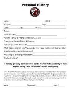 editable forms  jenks martial arts academy martial arts contract template sample