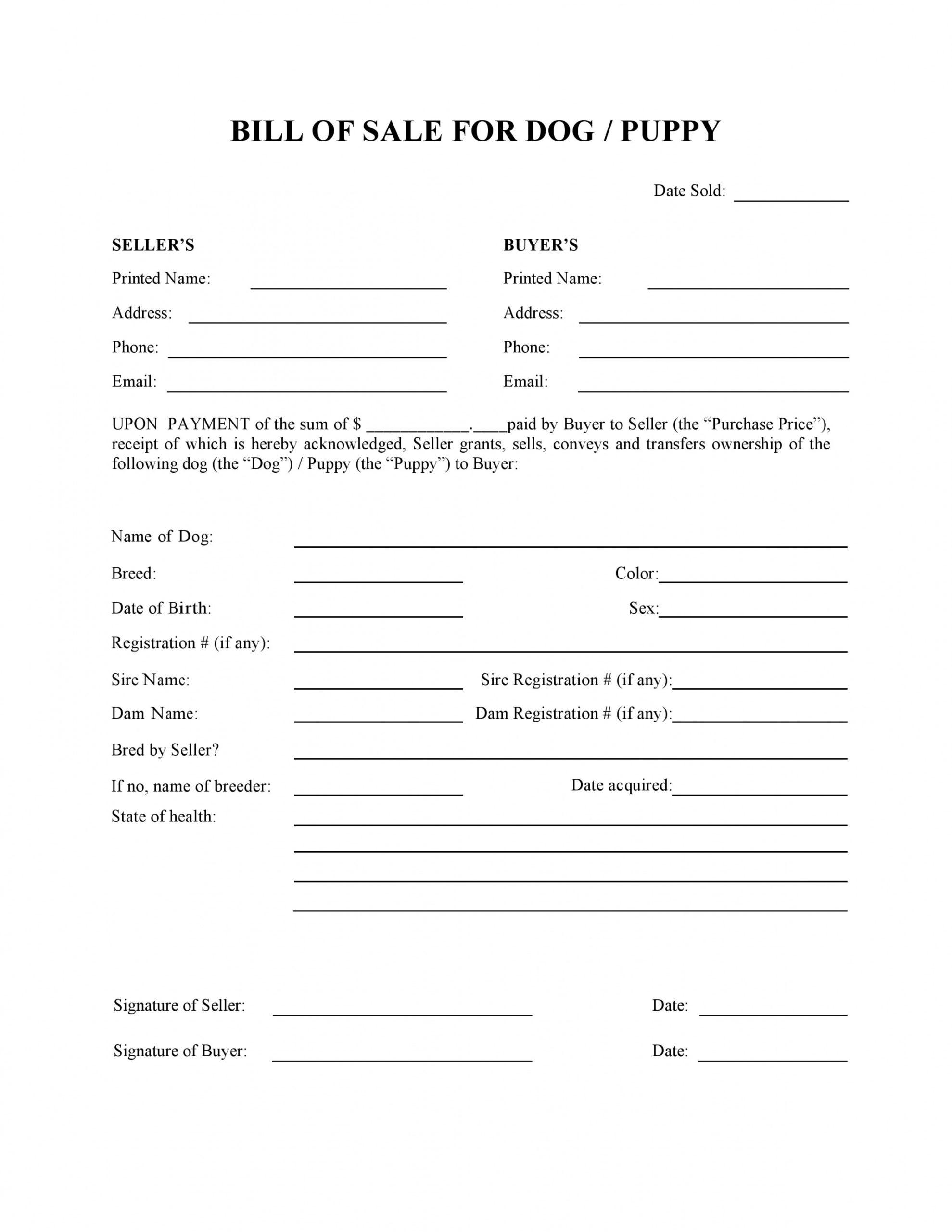 editable free dog or puppy bill of sale form  pdf  word  do it yourself forms dog sale contract template sample