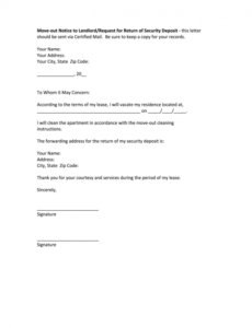 editable notice letter to tenant to move out pdf  fill online letter of intent to vacate apartment template sample