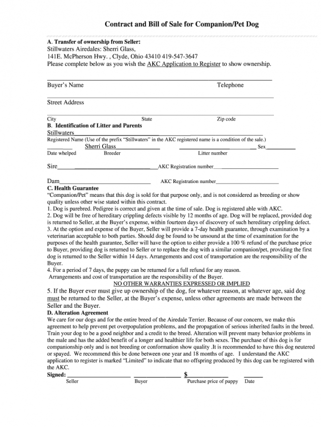 editable puppy contracts  fill online printable fillable blank dog sale contract template doc