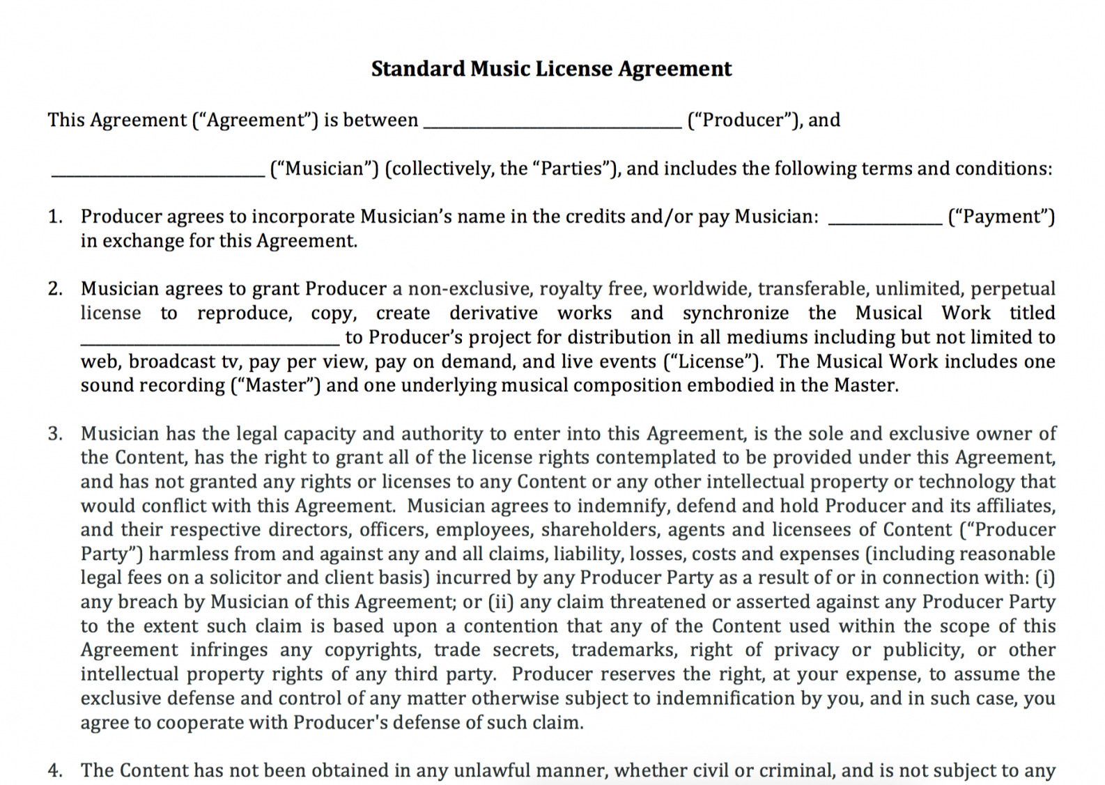 editable standard music license agreement  nimia music licensing contract template example