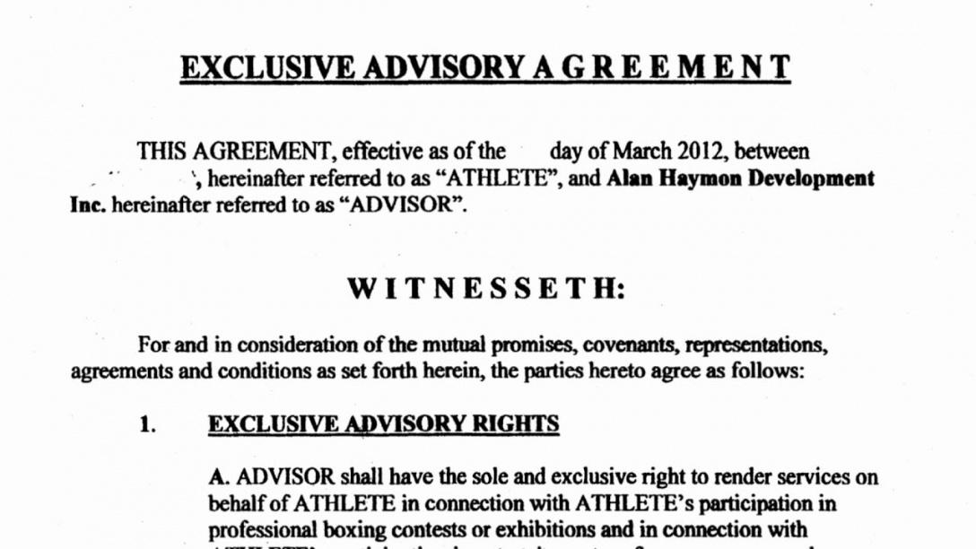 editable would you sign al haymon's exclusive advisory agreement? full contract  reading! fighters no say? boxing manager contract template