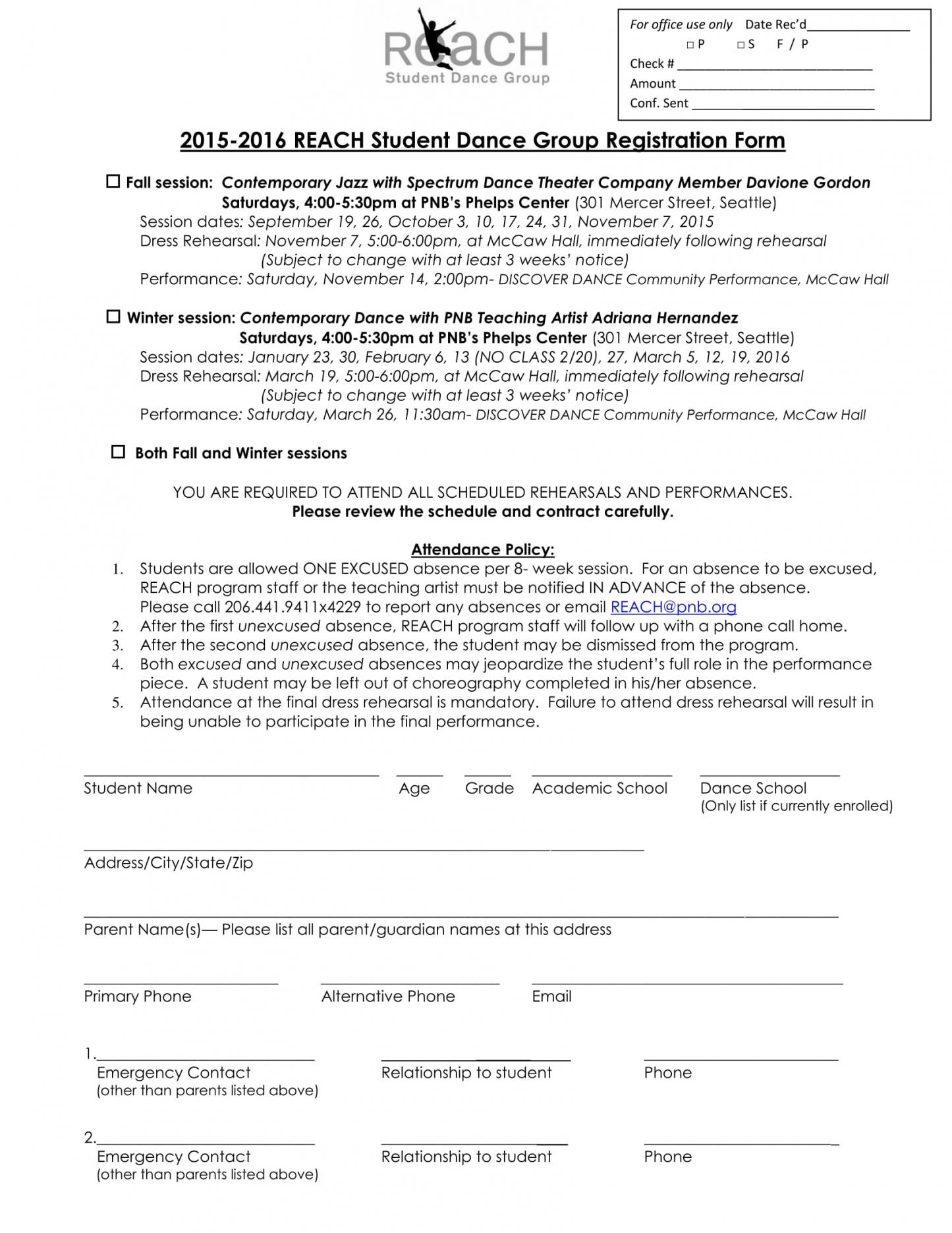 free 12 dance registration forms in pdf pdf  ms word  excel dance team contract template example