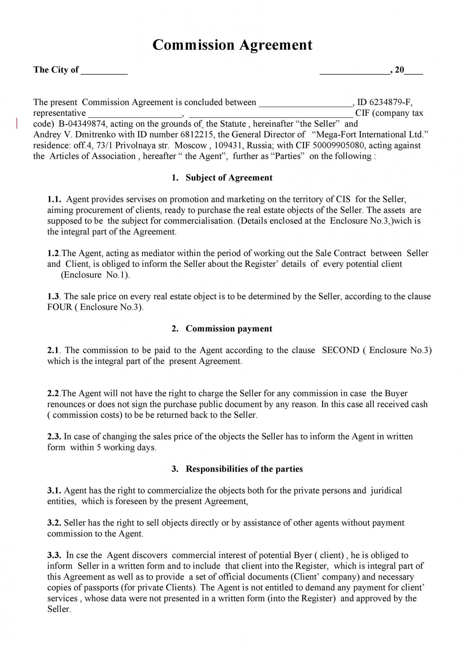 free 36 free commission agreements sales real estate contractor sales commission contract template word