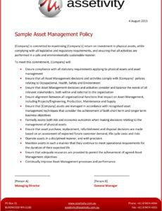 free asset management templates  assetivity asset management policy template