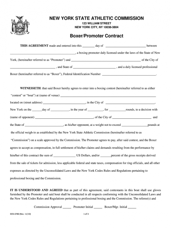 free boxing contract pdf  fill online printable fillable boxing manager contract template