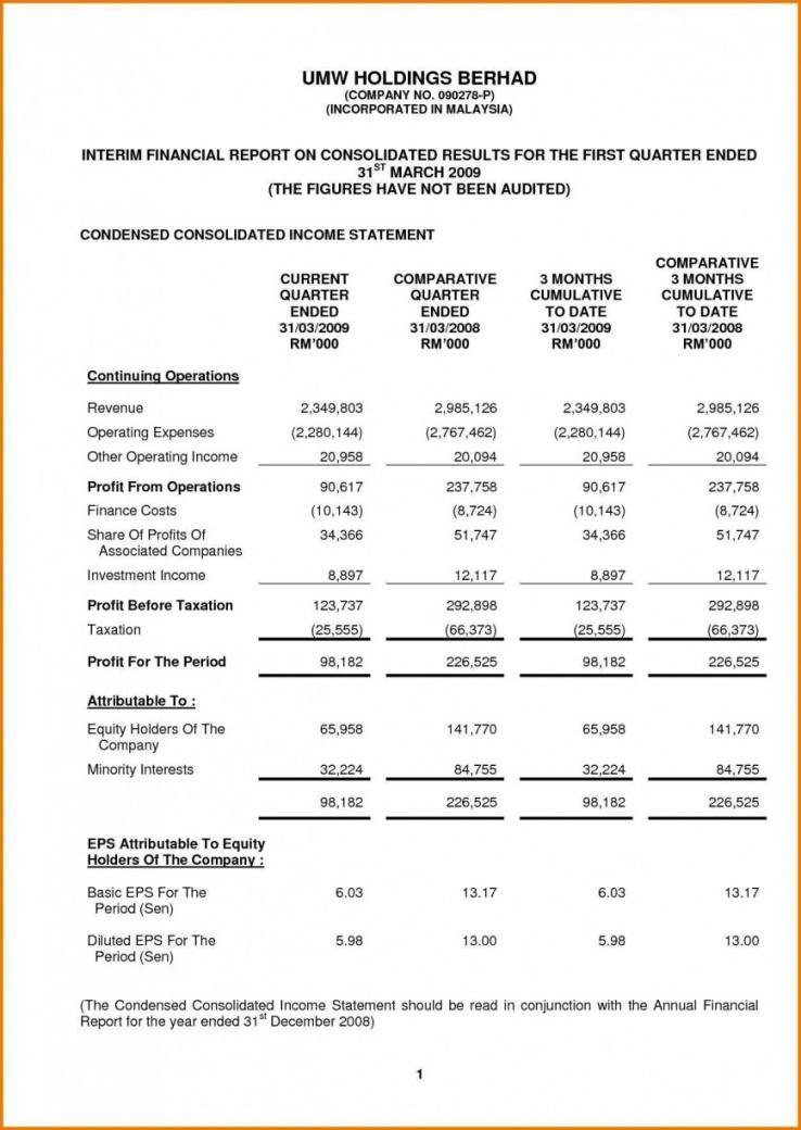 free excel income statement template ~ addictionary annual income statement template