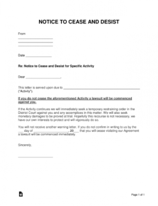 free free cease and desist letter templates  with sample  word general cease and desist letter template